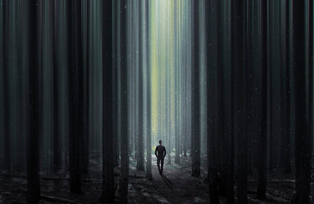 정글 풍경을 관찰하는 탐험가