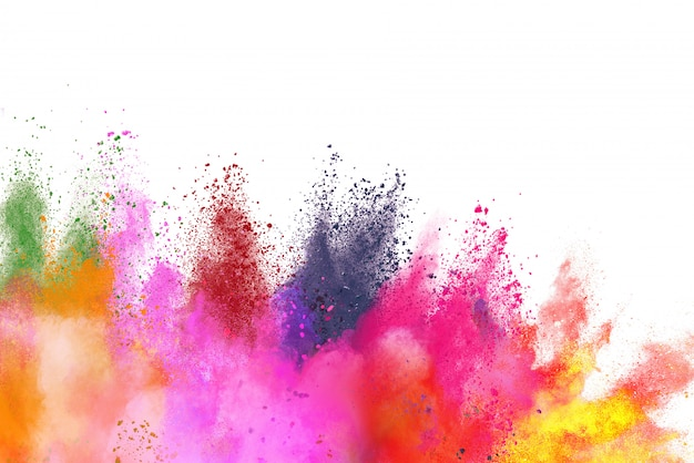 Explosion of colored powder isolated on white.