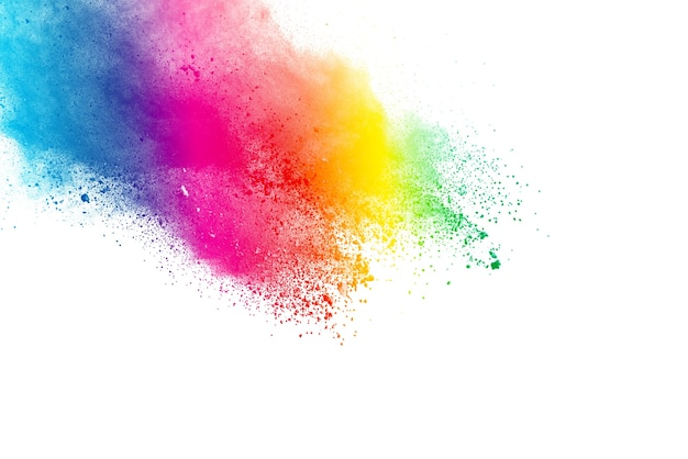Explosion of colored powder on white background.