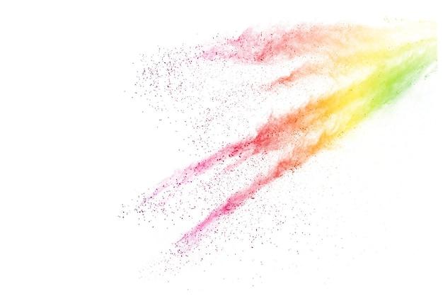 Explosion of colored powder on white