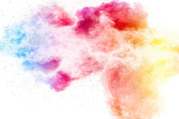 Explosion of colorful dust particles on white surfac