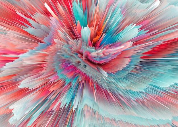 爆発のカラフルな光線。ダイナミックなシーンを輝かせます。魔法の動きの速いライン。ホログラム表示。明るくぼやけた波。スタイリッシュな空間明るいファンタジー抽象的な背景。将来の技術。 3dイラスト。