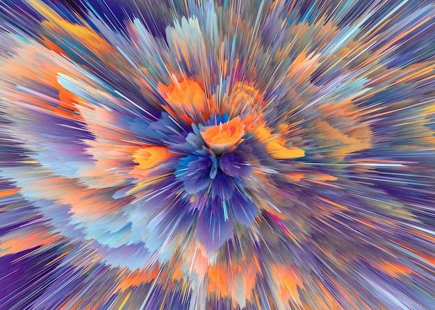 Разноцветные лучи взрыва. сияют динамичные сцены. магия движущихся быстрых линий. отображение голограммы. яркие размытые волны. стильный космический яркий фэнтезийный абстрактный фон. технологии будущего. 3d иллюстрации.