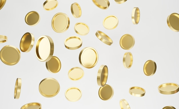 Explosion of golden coins on white background. jackpot or casino poke concept. 3d rendering.