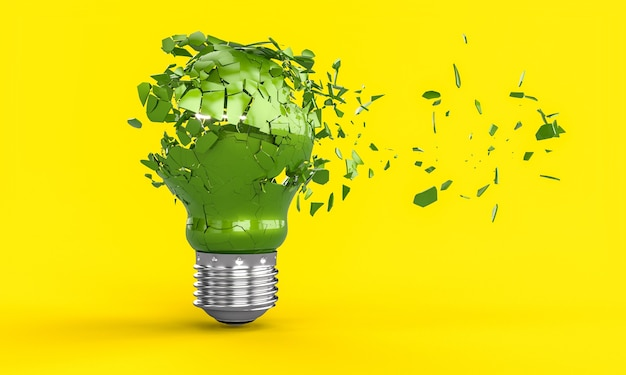 Explosion of a green light bulb. 3d render.