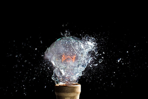 Explosion of a light bulb, moment of impact, high-speed photography