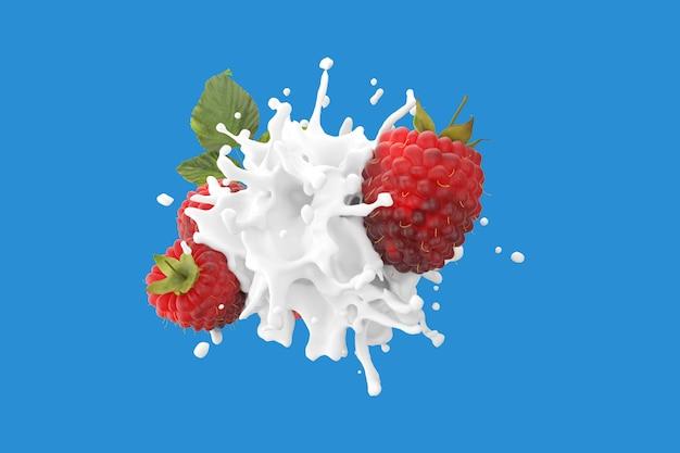 Explosion liquid milk cream with raspberry fruit on blue
