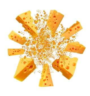 Взрыв ломтика сыра чеддер