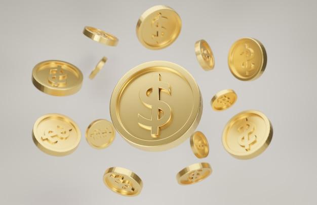 Взрыв золотых монет со знаком доллара. джекпот или концепция покера казино. 3d рендеринг.