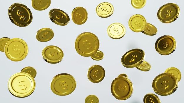 Взрыв золотых монет с местом для текста на прозрачном фоне 3d-рендеринга