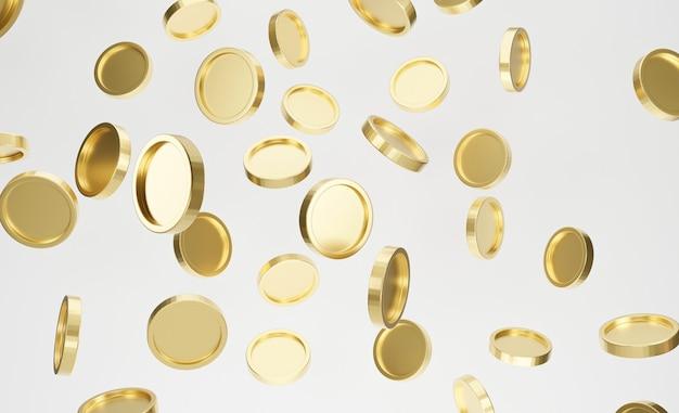 흰색 바탕에 황금 동전의 폭발입니다. 잭팟 또는 카지노 찌르기 개념. 3d 렌더링.