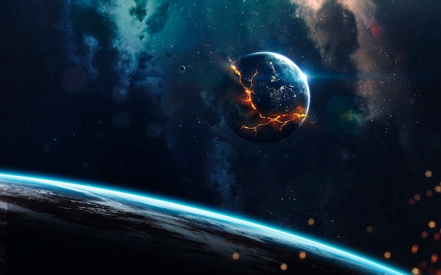 Explosion of planet in space