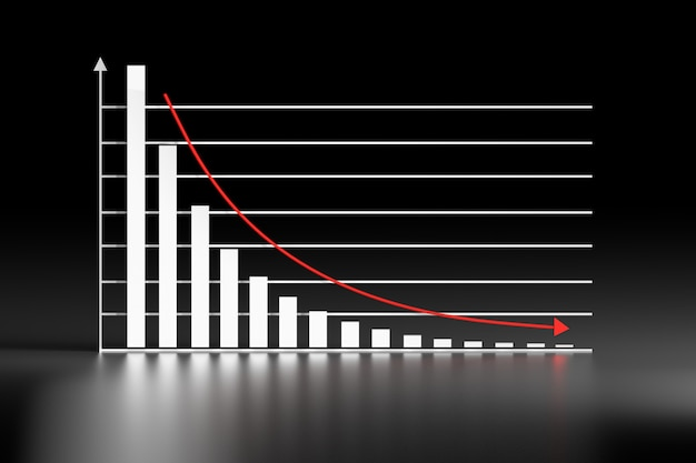 Exponential decay decline statistical graph on black