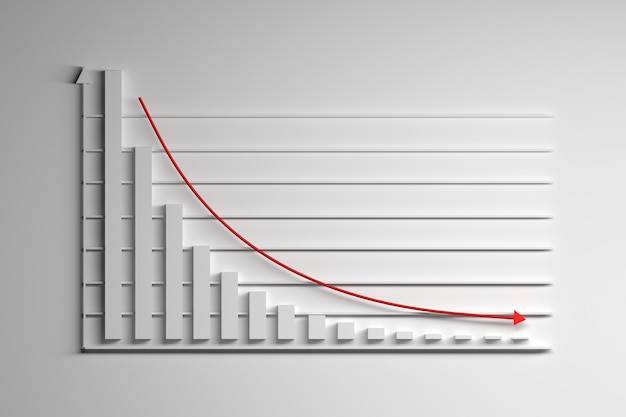 Exponential decay decline statistical graph on white