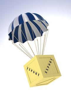 Экспортная коробка и парашют. трехмерное изображение, созданное цифровым способом.