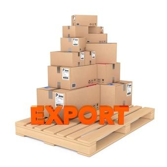 エクスポートの概念。白い背景の上の輸出サインと木製パレットの段ボール箱。 3dレンダリング。