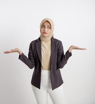 Expression of young entrepreneurs do not know open arms, the concept of office work isolated white background