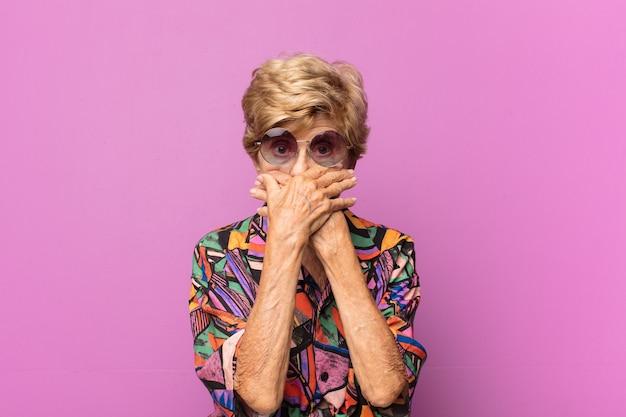 Expressive beautiful elderly woman