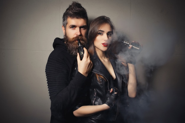 Expressive couple posing indoor