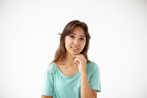 Expressive young woman posing