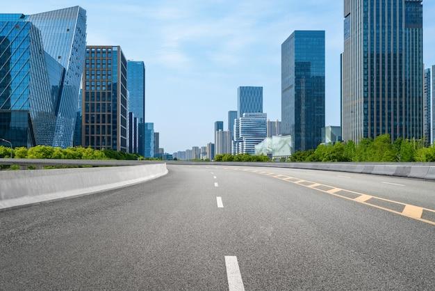Expressway background and urban skyline