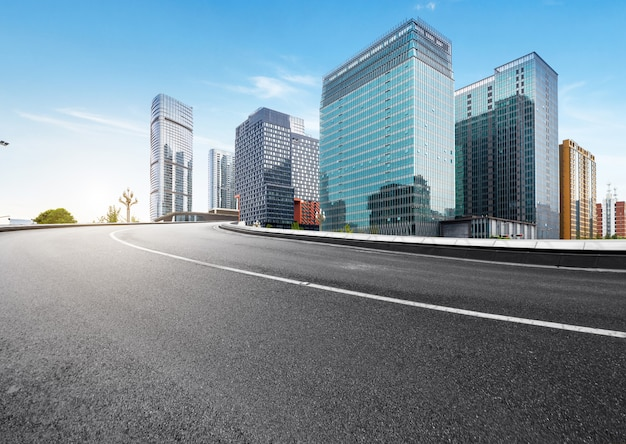 The expressway and the modern city skyline are in chengdu, china.