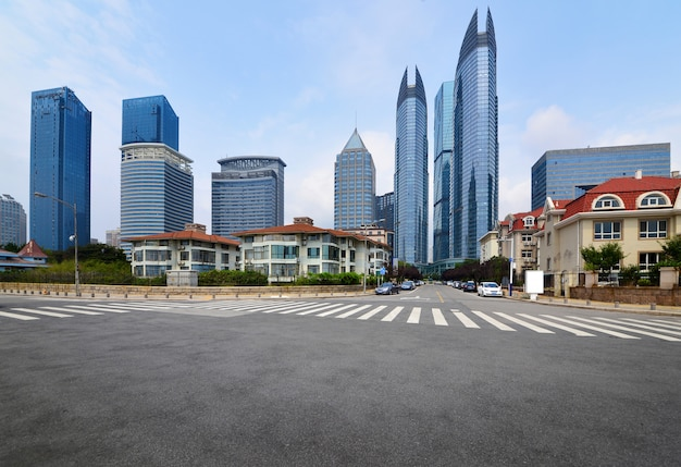 The expressway and the modern city skyline,qingdao,china