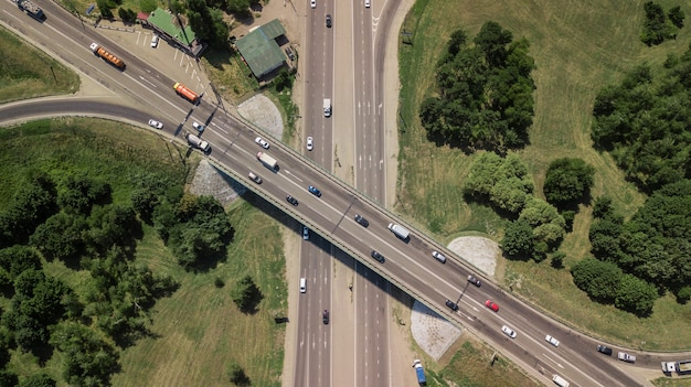 Expressway top view, road traffic an important infrastructure in russia, krasnodar