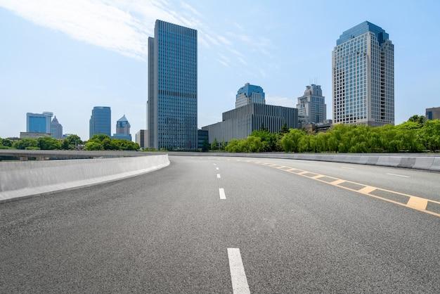 Expressway and urban skyline in hangzhou, china