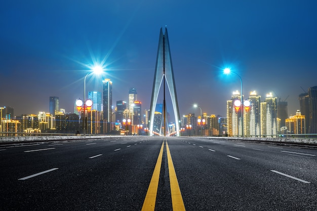 Expressway on yangtze river bridge and modern city scenery in chongqing, china