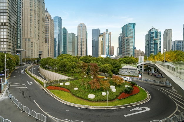 Expressways and skyscrapers in lujiazui financial center, shanghai, china