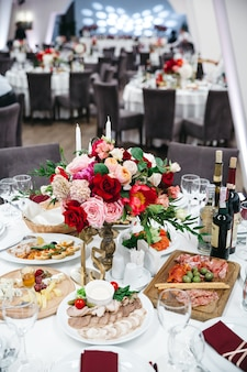 Exquisite decoration of a wedding restaurant