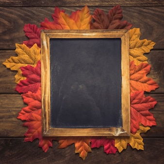 Exquisite empty chalkboard frame with autumn leaves