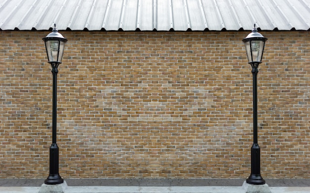 Exterior brickwork wall with lamp