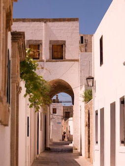 Exterior of buildings in rhodes greece