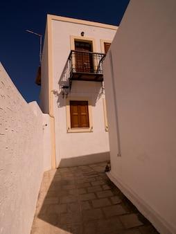 Exterior of buildings in rhodes greece