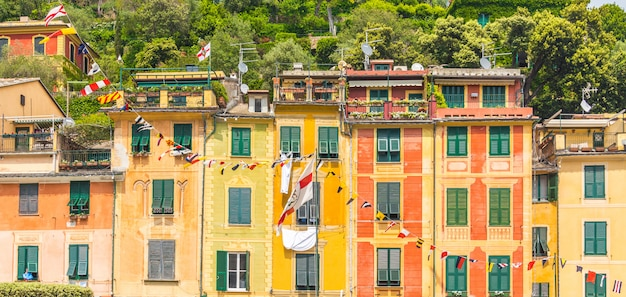 Exterior of colorful houses in portofino italy