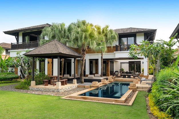 Premium Photo Exterior Design Of House Home And Pool Villa Feature Swimming Pool Terrace Landscape Garden And Sun Bed