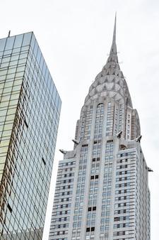 뉴욕에서 크라이슬러 빌딩의 외관 세부 사항.
