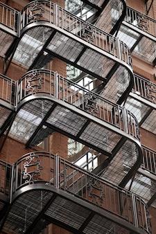 Exterior fire escape on a building in boston, massachusetts, usa