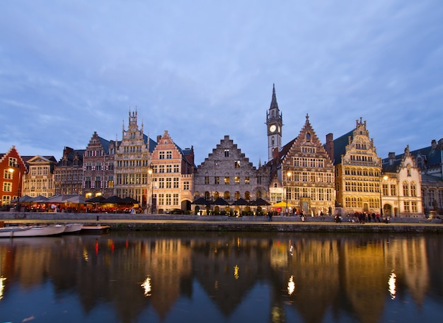 Exterior of illuminated buildings with canal, ghent, belgium