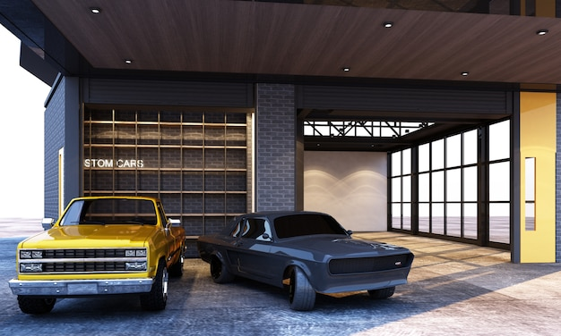 Exterior and interior garage industrial loft style with cars 3d rendering