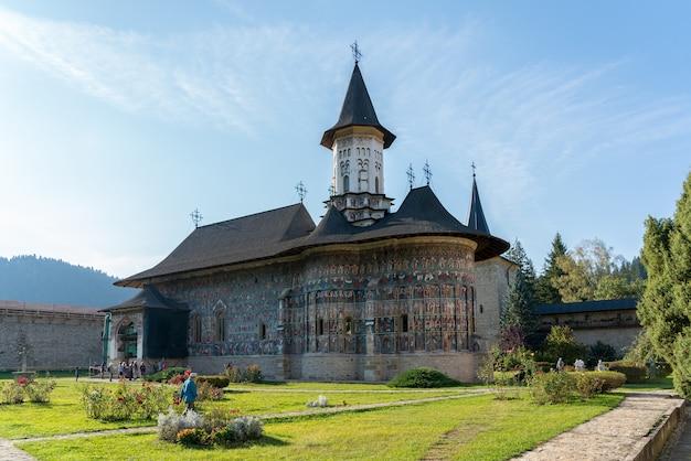 Exterior view of the monastery in sucevita in moldovia romania