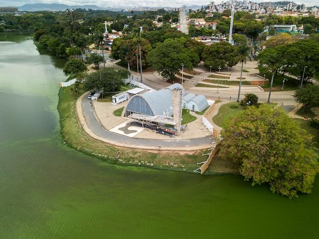 Exterior view of sao francisco de assis church in belo horizonte, brazil.