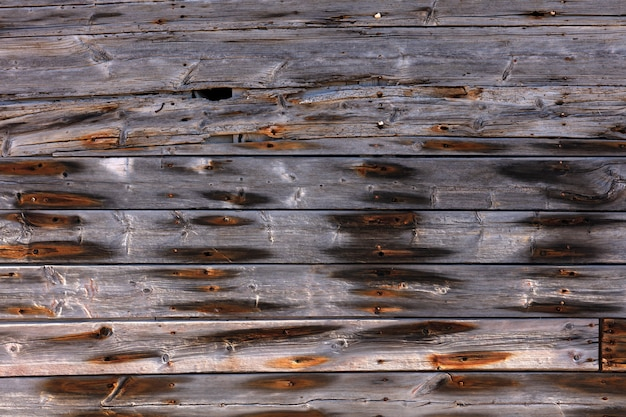 Exterior wooden wall with rusty nails