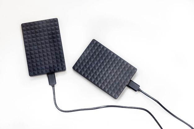 저장 컴퓨터 노트북 흰색 배경에 고립 된 외부 하드 디스크 드라이브 현대적인 디자인