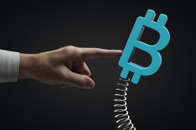 市場への外部の影響。暗号通貨のボラティリティ。ビットコインのシンボル。