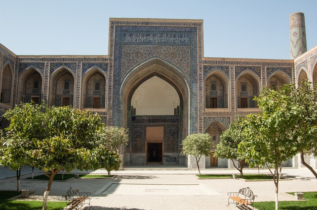 External review of registan in samarkand. ancient architecture of central asia