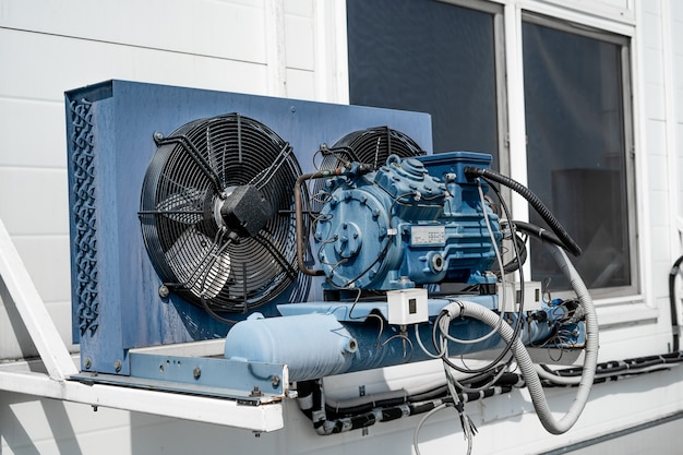 External unit of an industrial air conditioner in close-up.