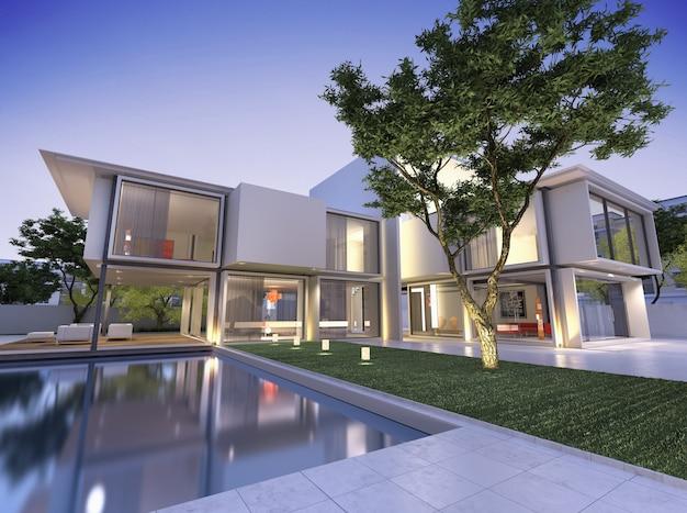 황혼에 수영장이있는 현대 집의 외부보기
